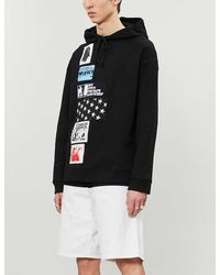 Raf Simons Printed-patch Dropped-shoulders Cotton-jersey Hoody - Black