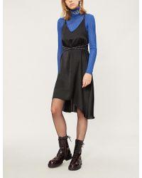 Mo&co. - Studded Asymmetric Satin Dress - Lyst