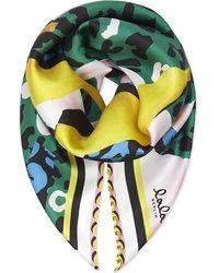 Lala Berlin - Cube Leopard Banana Silk Scarf - Lyst