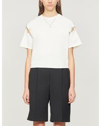 The Kooples - Safety Pin-trim Cotton-jersey T-shirt - Lyst