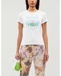 KENZO Tiger Print Short-sleeved T-shirt - White