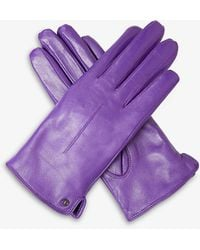 Dents Stud Single Point-stitched Leather Gloves - Purple
