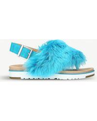 4d659daf79d8 Ugg Holly Sheepskin Sandals in Blue - Save 22.471910112359552% - Lyst