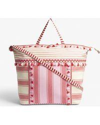 Dodo Bar Or Lydia Stripe Print Large Cotton Tote Bag - Pink
