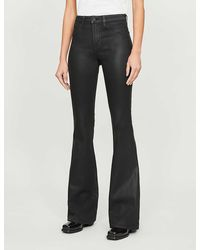 L'Agence Bell Slim-fit Flared High-rise Coated Jeans - Black