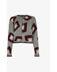 Beyond Retro Pre-loved Geometric-print Knitted Cardigan - Grey