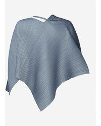 Pleats Please Issey Miyake Tie-front Pleated Woven Scarf Jacket - Blue