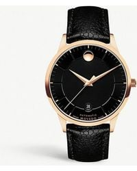 Movado - 0607062 1881 Automatic Pvd Gold-plated And Leather-strap Watch - Lyst