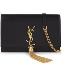 Saint Laurent - Monogram Kate Leather Clutch - Lyst