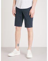 BOSS Orange Slim-fit Cotton Chino Shorts - Blue
