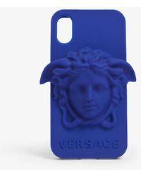 Versace Medusa Logo Silicone Iphone X Case - Blue