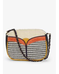 Sessun Divine Raffia And Leather Handbag - White