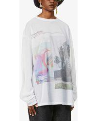 Fenty Graphic-print Cotton-blend Mesh T-shirt - Multicolour