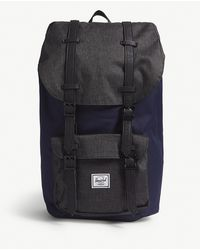 Herschel Supply Co. - . Peacoat Dark Blue And Black Crosshatch Little America Buckled Canvas Backpack - Lyst