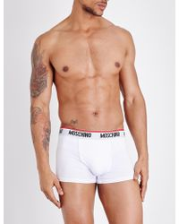 Moschino Pack Of Two Tape Slim-fit Stretch-cotton Trunks - Black
