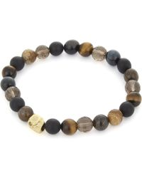 Nialaya - Multi-coloured Bead And 18ct Gold-plated Skull Bracelet - Lyst