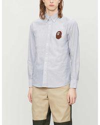 A Bathing Ape Ape-head Regular-fit Oxford Cotton Shirt - Gray