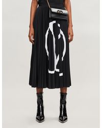Valentino V Logo Print Pleated Skirt - Black