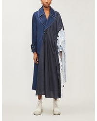 WEN PAN - Print-panelled Silk And Cotton-blend Trench Coat - Lyst