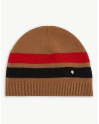 Burberry Graphic-stripe Cashmere And Merino Wool-blend Beanie - Red