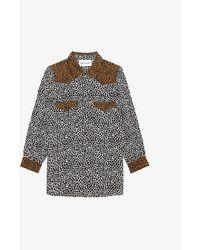 The Kooples Sport Contrast Leopard-print Crepe Shirt - Multicolour
