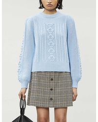 Whistles Puff-sleeve Cable-knit Knitted Sweater - Blue