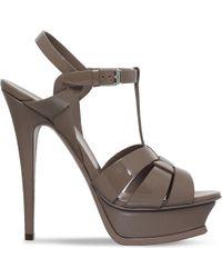 Saint Laurent - Tribute 105 Patent-leather Heeled Sandals - Lyst