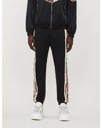 Gucci Side-stripe Satin And Stretch-jersey jogging Bottoms - Black