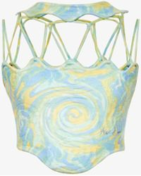 House Of Sunny Cypress Spiral-print Knitted Cropped Top - Blue