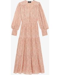 The Kooples Paisley-print Woven Maxi Dress - Pink
