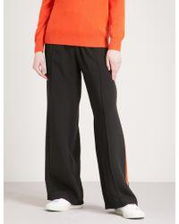SERENA BUTE LONDON Side-stripe Wide-leg Silk-crepe jogging Bottoms - Black