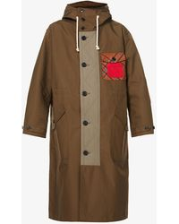 JW Anderson Tartan-patch Cotton Hooded Parka Coat - Natural