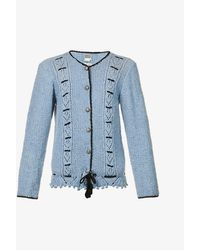 Michaela Buerger Emilie Embroidered Wool Cardigan - Blue