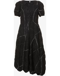 Renli Su Lace-up Crinkled Cotton-blend Midi Dress - Black
