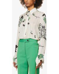 Victoria, Victoria Beckham Floral-print Frill-trimmed Crepe Shirt - Green