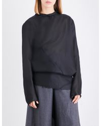 Moohong Draped Silk Top - Black