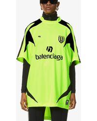 Balenciaga Soccer Brand-print Woven Top - Black