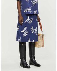 Prada Graphic-print Cotton Midi Skirt - Blue