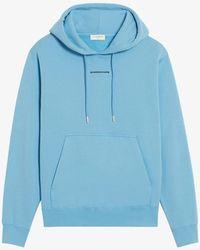 Sandro Logo-embroidered Organic Cotton-jersey Hoody - Blue