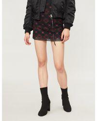 Pinko Lavagna Geometric-pattern Woven Mini Skirt - Black