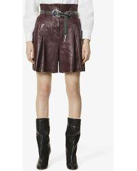 Alberta Ferretti Paper-bag Waistband High-rise Leather Shorts - Brown