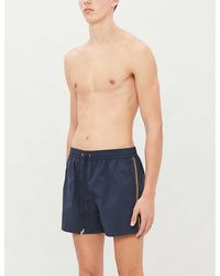 Paul Smith Striped-panel Swim Shorts - Blue