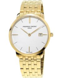 Frederique Constant - Fc220v5s5b Slimline Yellow Gold-plated Stainless Steel Watch - Lyst