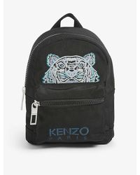 KENZO Tiger-embroidered Mini Canvas Backpack - Black