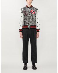 Burberry Contrast-sleeve Leopard Wool Bomber Jacket - Black