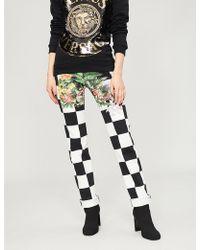 Versus - Chequered Stretch-denim Jeans - Lyst