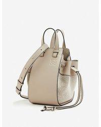 Loewe Hammock Drawstring Mini Leather And Linen Bag - Natural