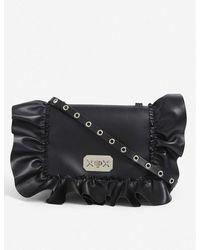 RED Valentino Audrey Ruffle-trim Leather Cross-body Bag - Black