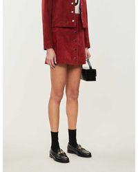 Claudie Pierlot Caprice High-waist Suede Mini Skirt - Red
