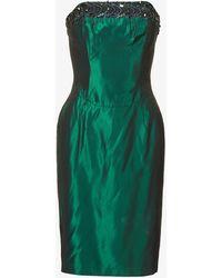 Beyond Retro Pre-loved Bead-embellished Satin-crepe Mini Dress - Green